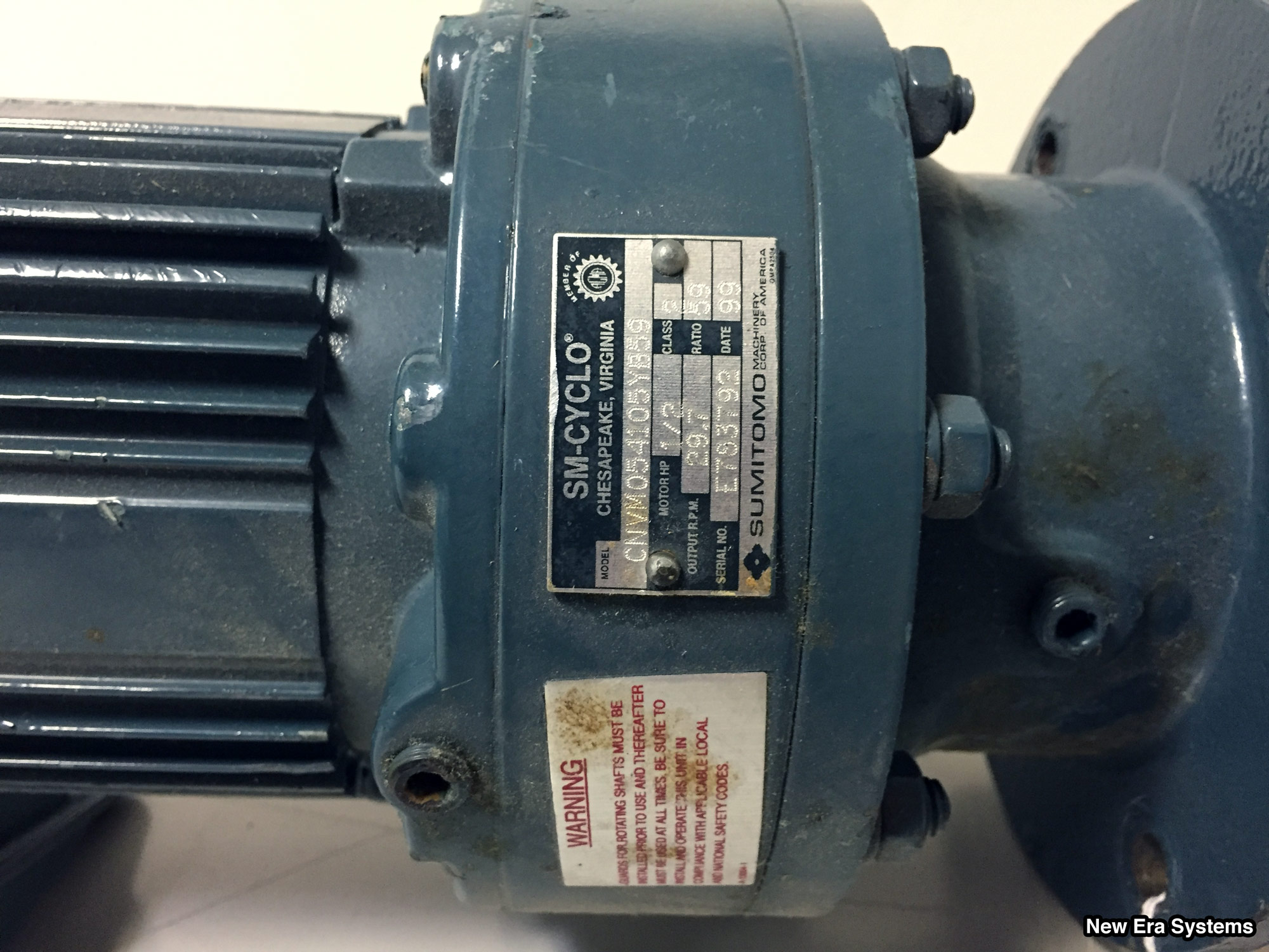 Sumitomo sm cyclo 3 phase induction motor 1 2 hp new era for Three phase induction motor