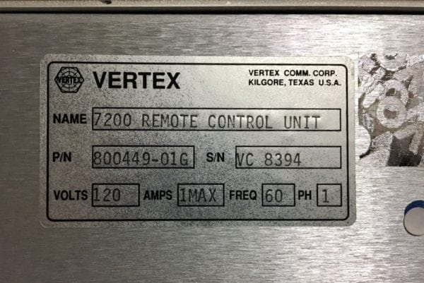 VERTEX 7200 REMOTE CONTROL UNIT