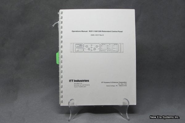 ITT Industries Redundant Control Panel Manual