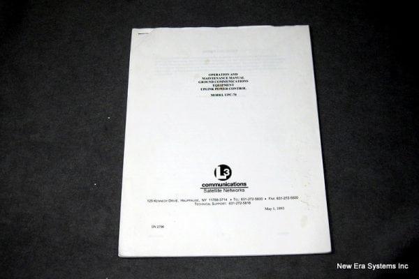 L3 UPC-70 Operations and Maintenance Manual